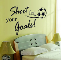 Wholesale Removable Waterproof Soccer Ball PVC Wall Sticker Shoot for your goals Football Wall Decor for Kids Room Decoration