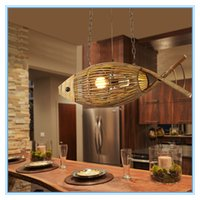 Poisson artisanal Pas Cher-Creative Main Crafted Bamboo Fish Led E27 Suspension Lights for Living Room Bar Dining Room Shop Coffee shop decoration