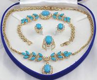 Anillo libre AA del pendiente de la pulsera del collar de la turquesa del embutido del GP del oro amarillo del envío 1set 18K ninguna caja
