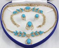 Wedding Jewelry Sets aa jewelry rings - gt gt gt gt set K Yellow Gold GP Inlay Turquoise Necklace Bracelet Earring Ring AA No box