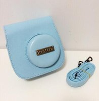 Wholesale 2015 Time limited New Soft Bag Fujifilm Instax Camera Mini Leather Bag Blue Polaroid for