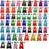 Wholesale DHL FREE Styles Double Side Super hero Cape and Mask cm kids Christmas Halloween Cosplay Prop Costumes