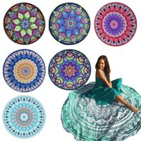 Wholesale Round Bikini Cover Ups Beach Beach Towel Bikini Cover Ups Bohemian Hippie Beachwear Chiffon Beach Sarongs Shawl Bath Towel Yoga Mat in stock