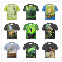 Wholesale 2017 New Arrival Mens Summer Casual D Printed Climbing Chameleon and Snake Pattern Short Sleeve T Shirts Cool Tees