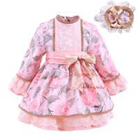 Wholesale Pettigirl Fancy Lolita Boutique Girls Flower Dresses With Headwear Kids Bow Sash Autumn Clothes Baby A Line Layered Lace Wear G DMGD908
