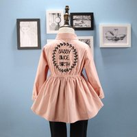 Wholesale Baby Girls Shirts Spring Kids Girl Letter Embroidery Blouses Princess Full Sleeve Cotton Tops Tees Children Clothing S506