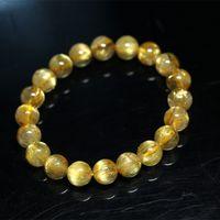 beaded hair strands - Natural Genuine Arrange Titanium Gold Hair Rutile Quartz Cat s Eye Stretch Bracelet Round Beads mm