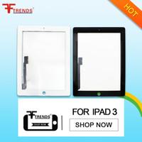 Negro blanco frontal de pantalla táctil de cristal panel del digitizador de reemplazo de montaje para iPad 3/4/2 con el botón de inicio