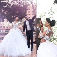 Wholesale Vestidos De Novia White Ball Gown Wedding Dresses Long Sleeve Vintage Bridal Gowns Vestido De Noiva Manga Longa