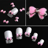 achat en gros de arc rose clou cravate art-Grossiste-Mode Multi Rhinestones Bow Tie Bricolage 3D Nail Art Décoration Stickers 10pcs Couleur Rose Nail Accessoires NA-0101