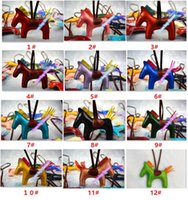 Wholesale 2017 New Colors Fashion Cute Women s Bag Pendant High end Handmade PU Handbag Key Chains Tassel Rodeo Horse Bag Charm bag Accessories