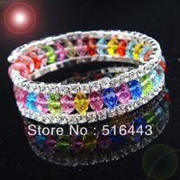 Precio de Cristales checo pulseras-Las pulseras esqueléticas de los brazaletes de los encantos de los Rhinestones checos cristalinos coloridos de 3pcs 3rows venden al por mayor la joyería A-700 de la manera