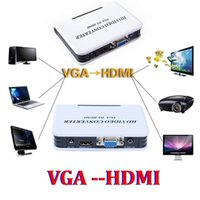 Wholesale 1080P HD Video Converter Box Adapter Audio VGA to HDMI HD HDTV Adapter For PC Laptop DVD set