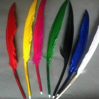 al por mayor bolígrafo de la pluma-200pcs / lots La hoja libre del envío adorna el bolígrafo popular del canilla del ganso para las muchachas