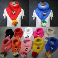 Wholesale Kids Scarf Bear Knitted Pom Pom Plush Ball Lovely Winter Soft Warm Baby Girls Scarf Kids Neck Muffler Collar Neckerchief Christmas Gifts ZQ