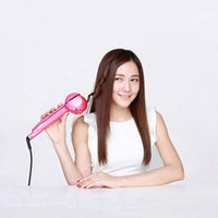 best iron curlers - 1pc Fashion Automatic hair curler Women Hair Care Tools Curling Irons US EU UK AU Pink Black for Lady best gift