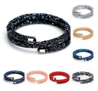 Wholesale New Rhinestone Double Wraps Magnetic Crystals Dust Stardust Bangle Crystaldust Bangle Double Rounds Full Pave Stones Jewelry