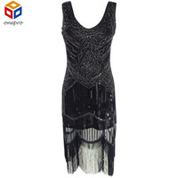Wholesale Womens Clothing s Great Gatsby Flapper Dress Sequin Fringe Embroidery Midi Dress Sheer Summer Dress Vestido De Festa