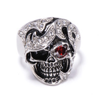 african jewelry designers - hot selling stainless steel jewelry anti rust retro vintage red eye diamond skull head titanium steel designer fashion men rings