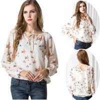 Wholesale Retro Women Chiffon Shirts women Tops Long Sleeve Lady Shirt Blouses Clothes Female Turn down Collar Lady Clothing Blusa1010