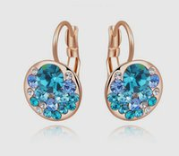 Ear Cuff Blue South American New Arrival Western Style Jewelry Wholesale Shining Blue Austrian Crystal Rose Gold Plated Ear Cuff Exclusive Female Birthday Party Gifts