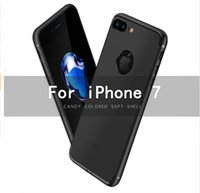 Wholesale For iphone7 Case Silionce Black Soft Slim Logo Candy Cute Black Matte TPU Phone Accessories Back Cover For Apple iphone Plus