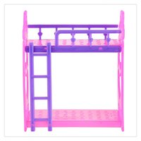bedroom furniture accessories - 2017 New Hot Cute Inch Plastic Double Dolls Bed Frame For Barbie Doll Dream House Bedroom Furniture Doll Accessories Purple Pink Random