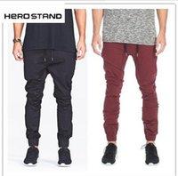 drop crotch pants - Brand Designer Mens Harem Joggers Sweatpants Elastic Cuff Drop Crotch Drawstring Biker Joggers Pants For Men Black Red Green AY880