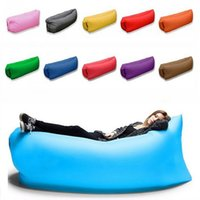 Wholesale Fast Inflatable Air Sleeping Bag Hangout Lounger Air Camping Sofa Portable Beach Nylon Fabric Sleep Bed with Pocket Outdoor Pads CA100