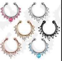 Wholesale Nose Ring Crystal Nose Hoop Nose Rings Body Piercing Jewelry Fake Septum Clicker Non Piercing Hanger Clip On Women Body Jewellry Free Ship