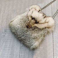 Wholesale womens bag Cute Fur Fox Head Kawaii Crossbody Sling Bags For Women Luxury Genuine Leather Soft Satchel Funny Messenger Rabbit Hair Fur Bags