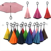 Wholesale Fedex DHL Free Creative Inverted sun Umbrellas Double Layer With C Handle Inside Out Reverse Windproof Umbrella M493 B