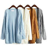 Wholesale harajuku new winter coat thick twist sweater korean Girls long section long sleeved knit cardigan