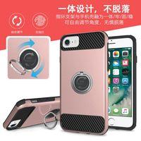 Universal iPhone 7 6 6 Plus Plus Preminm Fibra de Carbono Texturas Anillos Fundas TPU Hybrid PC Cover Kickstand para Samsung Galaxy S7 Edge