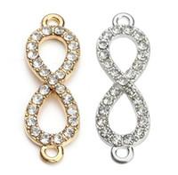 achat en gros de connecteurs à débordement d'or-100pcs / lot plaqué or Crystal Rhinestone Figure 8 Infinity connecteur Charms pendentif pour Bijoux Bracelet DIY faisant 10 * 33mm