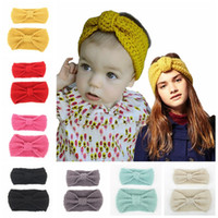 baby knit set - Baby mother Turban Knit Headbands set parent child Winter knot Bohemia Fashion protect Ear Bow Headwear Hair Accessories T European