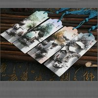 Wholesale Bookmark Paper Design Spring Summer Automn Winter Landscape of Chinese Ancien Town with String Hanging pieces