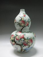 antique ceramic marks - China Famille Rose Porcelain big Vase Hand painted Pomegranate Bird Guangxu mark