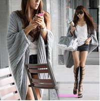 Wholesale Newest design Batwing Sleeve Fashion Sweater Coat Casual Women s Cardigan black red gray Shawl Wraps Outwear