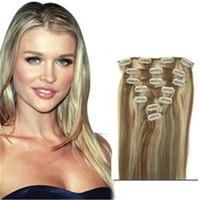 # 12 613 mezcla de color brasileño clip en extensiones de cabello humano 7 piezas grueso clip en cabello humano extensión cabezal completo