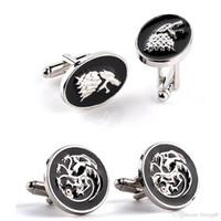 Wholesale Game of Thrones Men cufflinks Targaryen Dragon Stark Wolf Round Oval cuff links SLXK18008