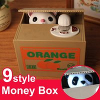 automatic cat toy - Piggy Bank Electric Money Box Coin Bank Cute Automatic Stealing Coin Cat Penny White Kitty Panda Dog Pig Mouse Monkey style English