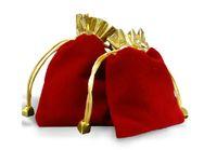 Precio directo de fábrica Red Velvet Drawstring bolsa de bolsa Bolsa de joyería de Navidad Bolsa de regalo de boda Bolsa de Navidad