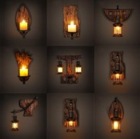 Wholesale American retro style LOFT industrial network Cafe Bar Candlestick living room wall lamp bedroom bedside wood rudder