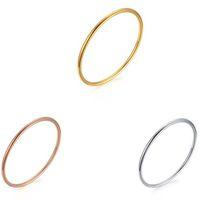 Alto acero inoxidable pulido España-Venta al por mayor simple diseño de alta pulido de acero inoxidable Bangel conjunto, tres en un conjunto de brazalete para las mujeres en oro, rosa de oro y plata