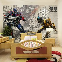 Wholesale The mural with Qiangbu children s cartoon real background picture of Transformers custom non woven film role TV wall delivery speed