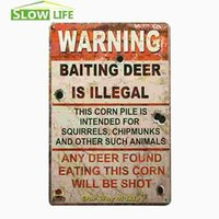 bait sign - Warning Baiting Deer Is Illegal Vintage Home Decor Tin Sign quot x12 quot Metal Plate Bar Garage Wall Decor Tin Plaque Metal Art Poster