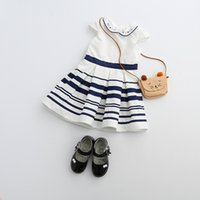 Summer baby doll style clothing - 2017 baby Girls Stripe Dress New Korean embroidered Doll Collar Ruffle Striped Summer Kids Parincess Party Dress Children Clothes C249