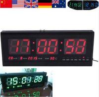 Precio de Grandes relojes de pared azul-Reloj de pared del escritorio de la tabla del calendario del tiempo de Digitaces del reloj de alarma del despertador del LED de la mejora el 48cm nuevo 1Ps azul / rojo / verde