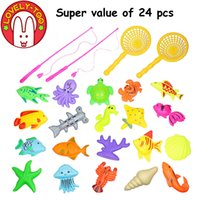 Wholesale Lovely Too Magnetic Fishing Game Plastic Toy Fish Rod Parent Children Funny Toys Boys Outdoor Fun